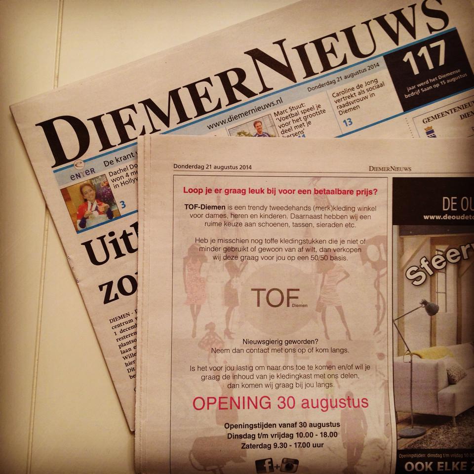 TOF Diemen - Bericht in DiemerNieuws over onze opening op 30 augustus 2014